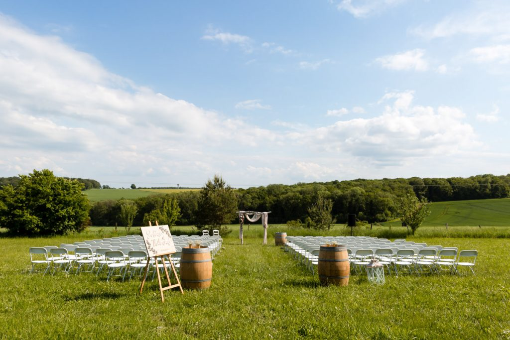 wedding ceremony setup in the fields